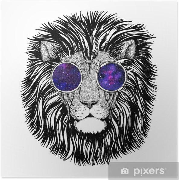 Plakat Dziki Hipster Lew Obraz Tatuaż Logo Godło Projekt Odznaka
