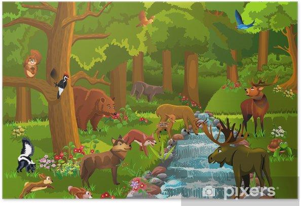 Plakat Dzikie zwierzęta w lesie - Ssaki