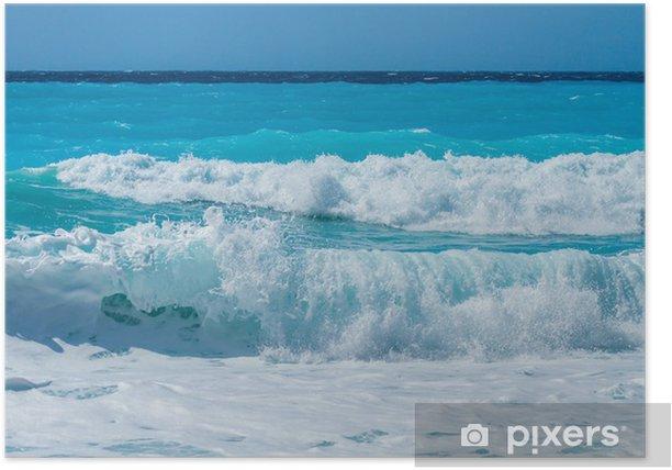 Plakat Dzikiej plaży na wyspie Lefkas w Grecji - Woda