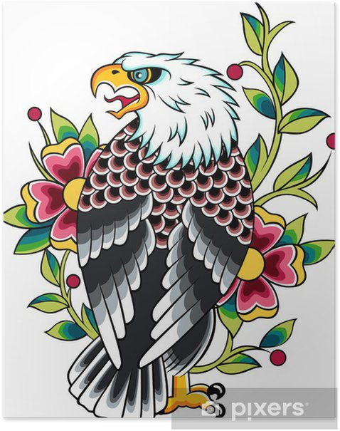 Plakat Eagle, tattoo - Naklejki na ścianę