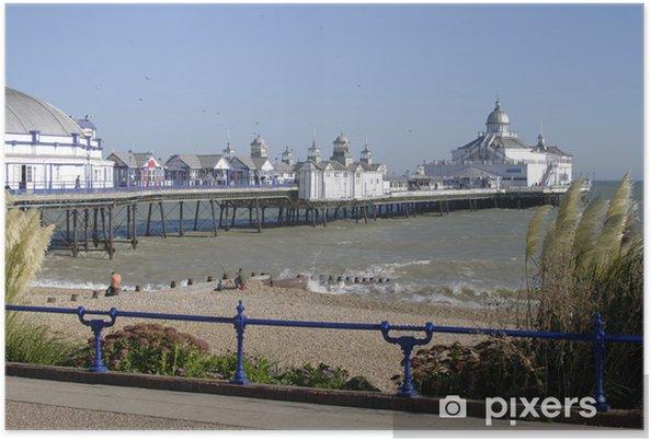 Plakat Eastbourne plaży i molo. East Sussex. anglia - Europa