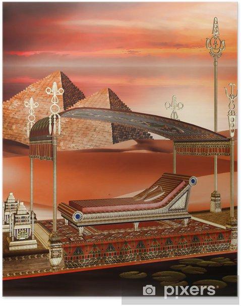 Plakat Egipska łódź i piramidy - Afryka