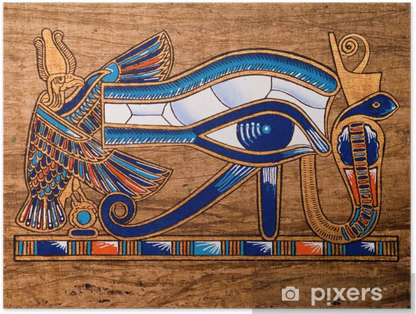Plakat Egipski papirus, oko horusa - iStaging