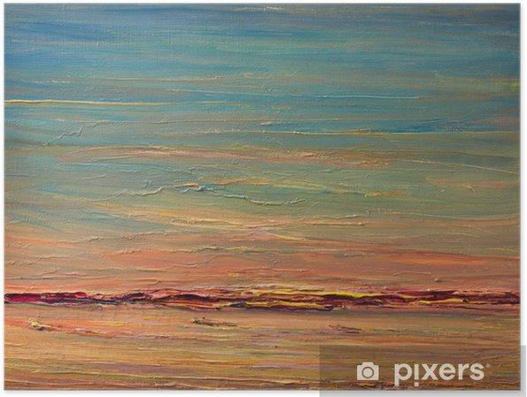 Plakat Ekspresyjny Sunset Over The River - Sztuka i twórczość