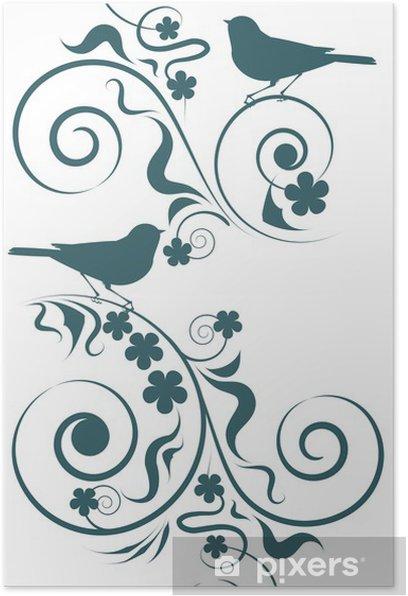 Plakát Elegantní abstraktní vzor květin a ptáků - Ptáci