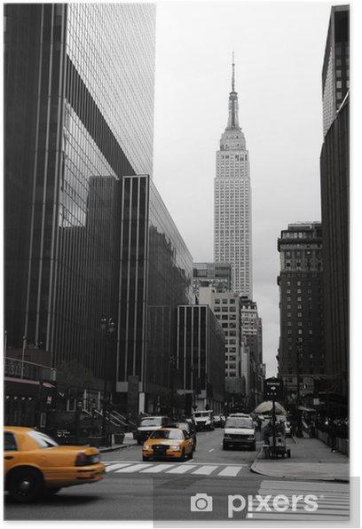 Plakat Emipre State Building i żółty, Manhattan, New York -