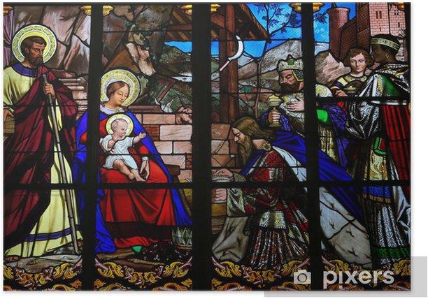 Plakat Epiphany Witraż w katedrze w Tours - Święta międzynarodowe
