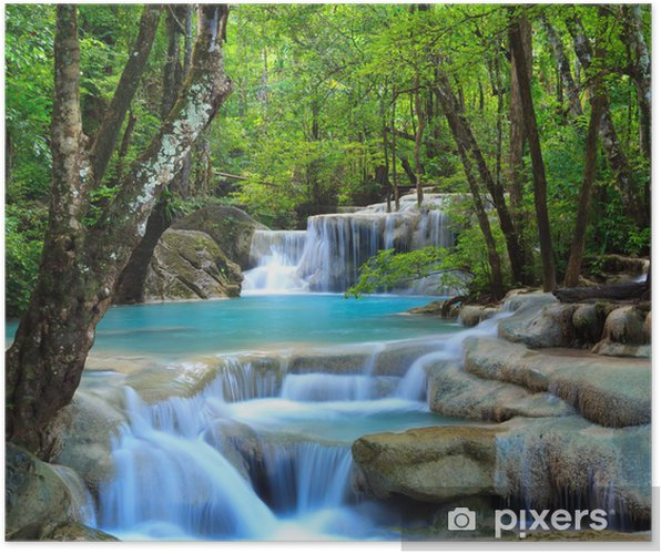 Plakat Erawan wodospad, Kanchanaburi, Tajlandia - Wodospady