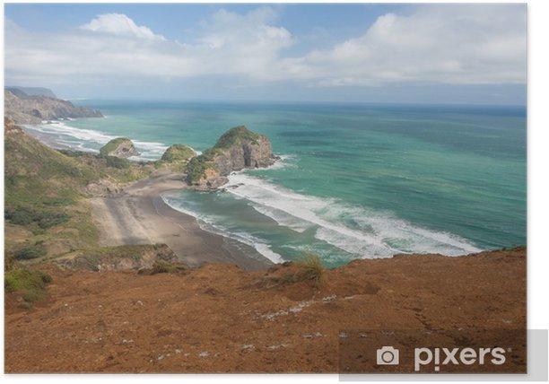 Plakat Erozji skały na wybrzeżu Nowej Zelandii - Oceania