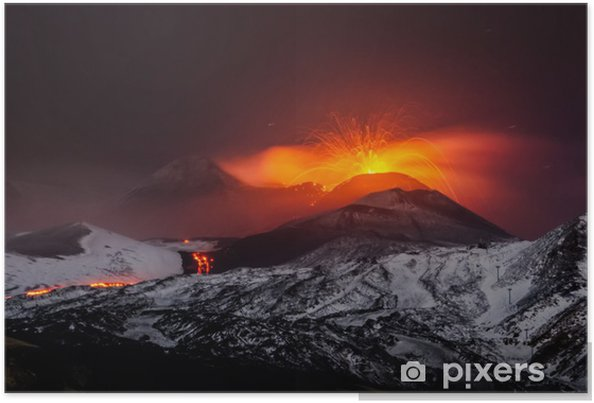 Plakat Erupcja wulkanu Etna lawy - Klęski żywiołowe