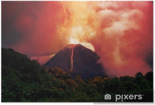 Plakat Erupcją wulkanu - Gniew