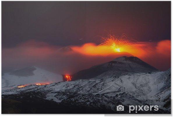 Plakat Etna 2013 wybuch - Klęski żywiołowe