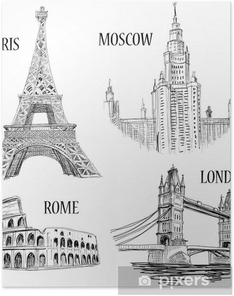 Plakát Evropská města nakreslil symboly - Krajiny