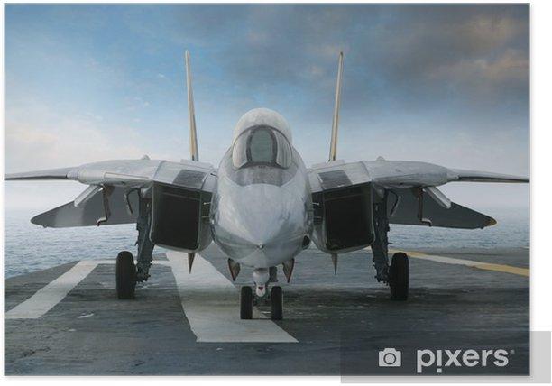 Plakat F-14 myśliwiec odrzutowy na pokładzie lotniskowca patrząc od przodu - Tematy