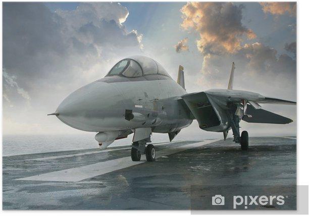 Plakat F-14 myśliwiec odrzutowy na pokładzie lotniskowca pod dramatyczne cl - Tematy