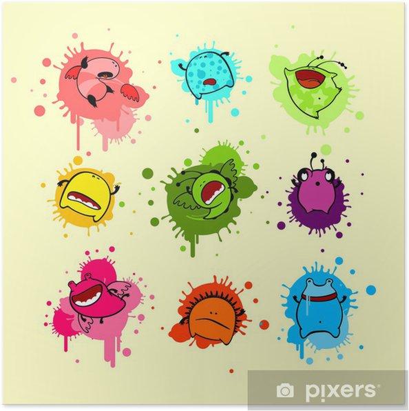 Plakat Fajne kolorowe zbiór martwych potworów - Criteo