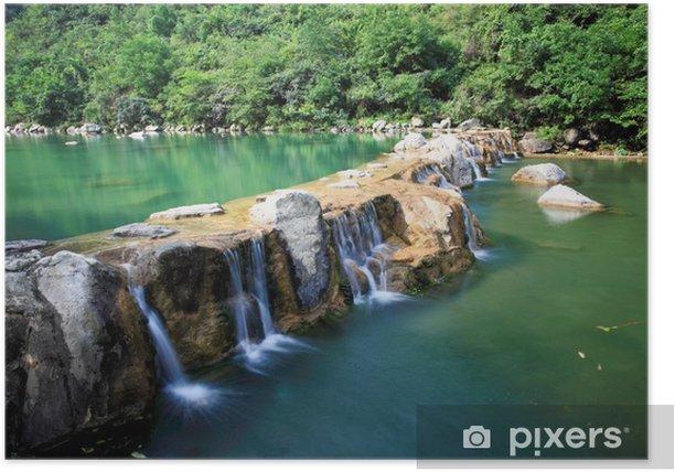Plakat Falls wodne i kaskady Yun-Tai Mountain Chinach - Azja