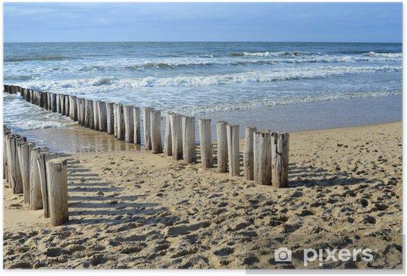 Plakat Falochronów na plaży nad Morzem Północnym w Domburg Holandii - Tematy
