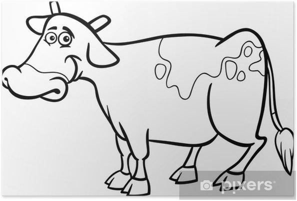 Plakát Farma kráva karikatura pro omalovánky - Savci