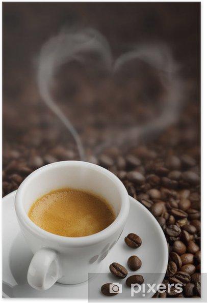 Plakat Filiżanka kawy z kształcie serca pary - Tematy