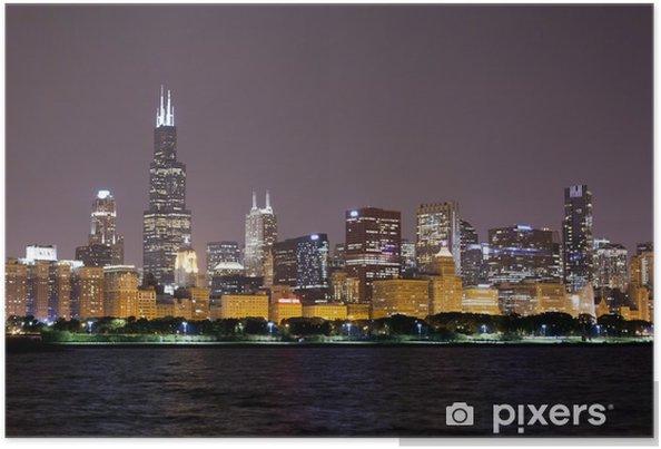 Plakát Finanční čtvrť (noční pohled Chicago) - Těžký průmysl