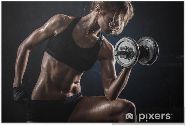 Plakat Fitness z hantlami -