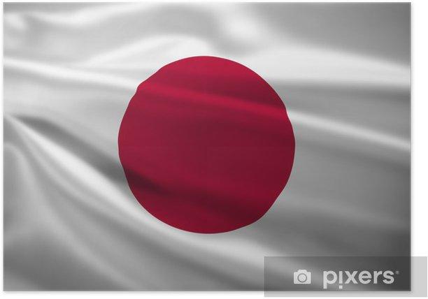 Plakat Flag Japonia wiejący wiatr - Tematy