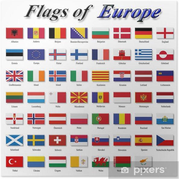 Plakat Flagi Europy - Znaki i symbole