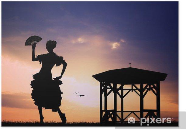 Plakat Flamenco na zachodzie słońca - Kobiety