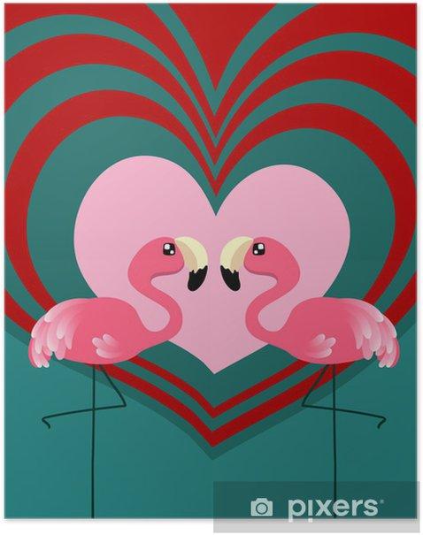 Plakat Flamingo miłość para - Tematy