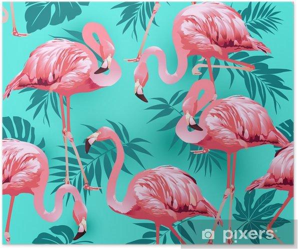 Plakat Flamingo ptak i tropikalny kwiaty tło - wektor wzór - Rośliny i kwiaty