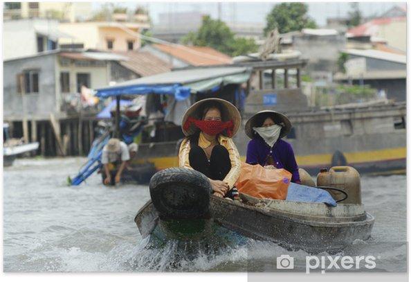 Plakat Floating market, cai być, Mekong Delta, Wietnam -