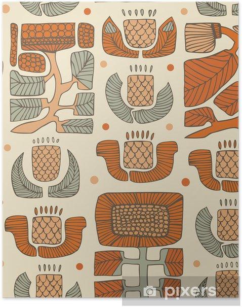 Plakat Floral dekoracyjne ręcznie rysowane tła - Tekstury