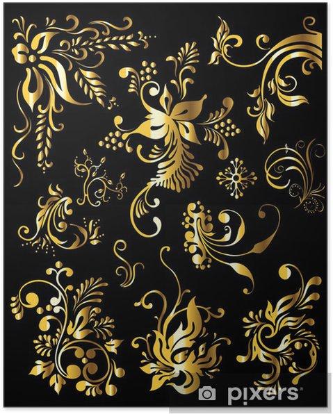 Plakat Floral Ornament Zestaw Vintage Złote Elementy Dekoracyjne