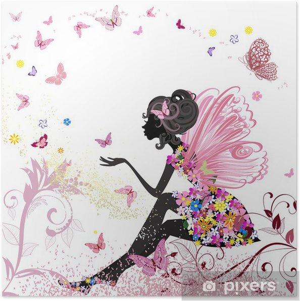 Plakat Flower Fairy w otoczeniu motyli - Style