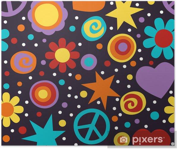 Plakat Flower power hippie szwu - Tematy