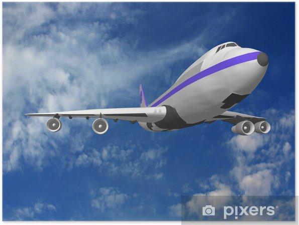 Plakát Flying tryskové letadlo, 3D render. - Vzduch