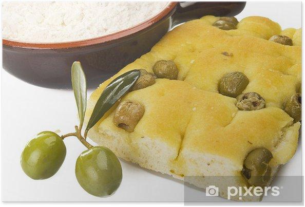 Plakat Focaccia z oliwkami, focaccia jest płaska piekarnik pieczone włoski chleb - Posiłki