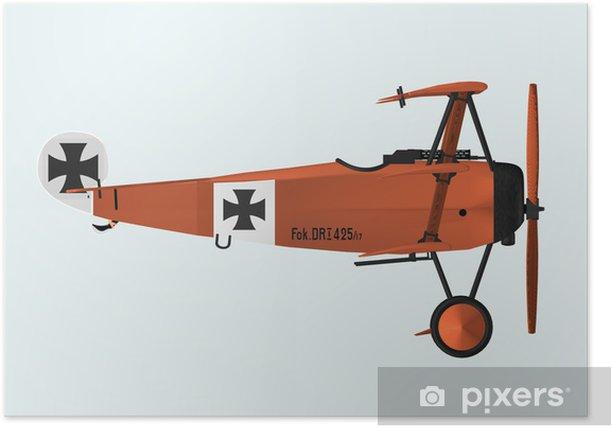 Plakát Fokker DRI Seitenansicht - Vzduch