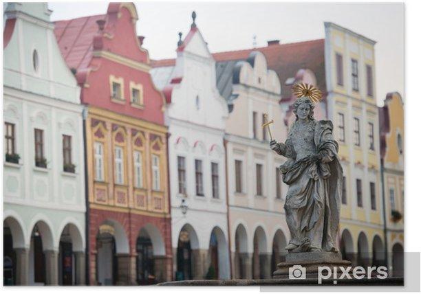Plakát Fontána na hlavním náměstí v Telči, Česká republika - UNESCO - Památky