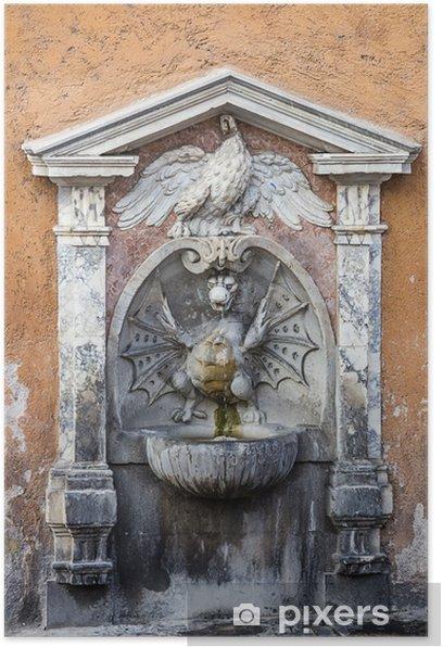 Plakát Fontána ve Vatikánu. Řím. Itálie. - Evropská města