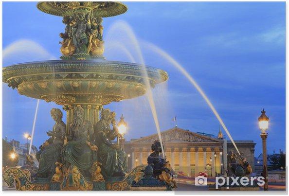 Plakat Fontanna na Place de la Concorde o zmierzchu, Paryż, Francja - Miasta europejskie