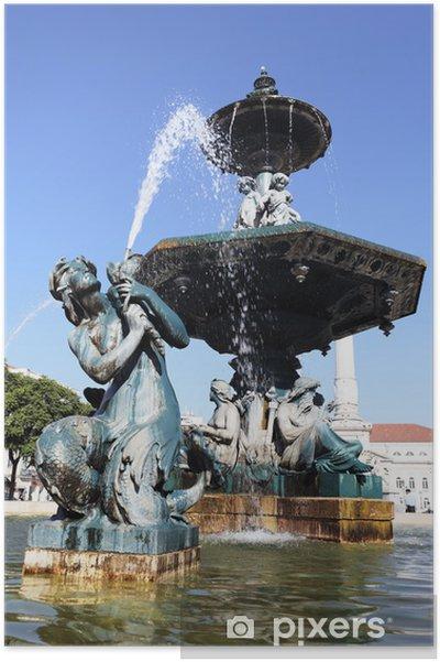 Plakat Fontanna na placu Rossio w Lizbonie - Miasta europejskie