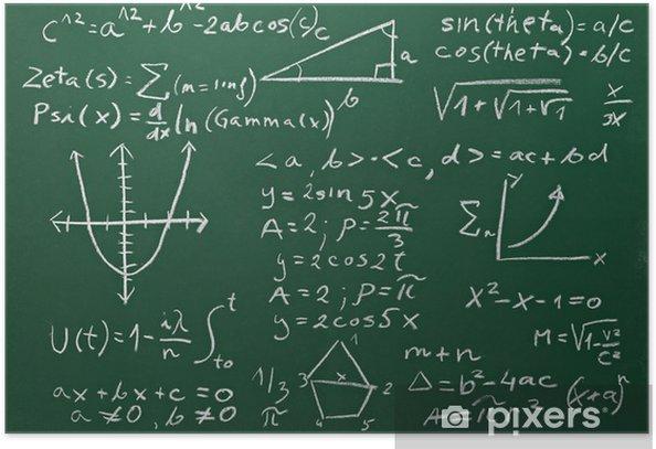 Plakat Formuł matematycznych na tablicy szkolnej edukacji - Styl życia