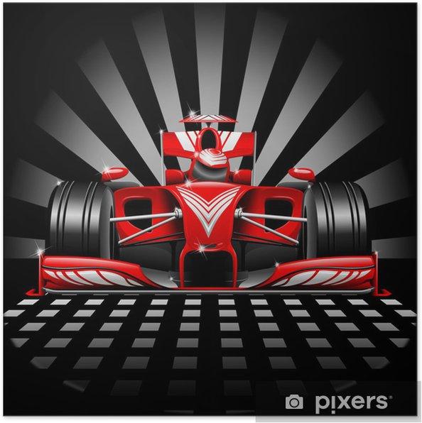 Plakat Formuła 1 czerwony samochód wyścigowy - Tematy