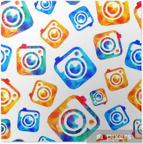 Plakát Fotoaparát bezešvé vzor • Pixers® • Žijeme pro změnu 4164417640a
