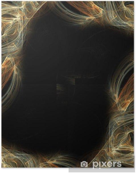 Plakat Fraktal abstrakcyjna ramki na czarnym tle - Sprzedaż