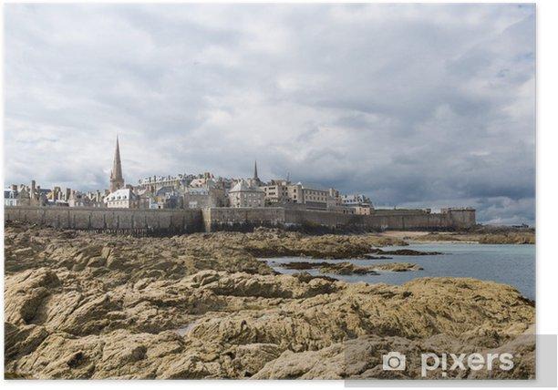Plakát Francie, Bretaň, Saint Malo - pohled z Dinard - Památky