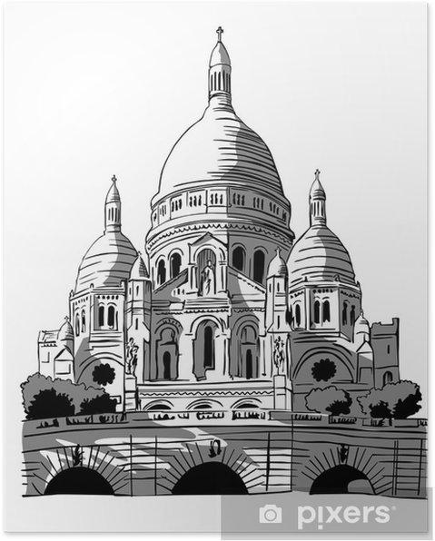 Plakat Francja, Paryż: rysunek Sacré-Coeur - Budynki użyteczności publicznej