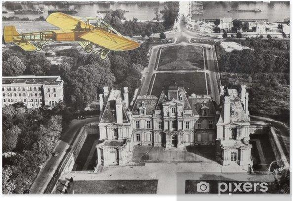 Plakat Francuski antyczny archiwalne kolażu. - Zasoby graficzne